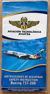 Aviación Tegnológica AVIATSA Boeing 737-200 Safety Card
