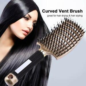 Curved Vented Boar Bristle Styling Hair Brush Detangling Scalp Massage Brush x 1