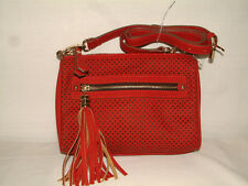 #1170 LAZER CUT PERFORATED CROSSBODY FROM IZARO,TASSEL ACNT, ZIP CLOSE, DEEP RED