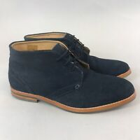 H London By Hudson Blue Leather Suede Ankle Lace Up Chukka Desert Boots 41 UK7