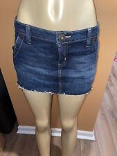 Guess Jeans Blue Dark Denim Cut Off Mini Skirt Frayed Distressed Size 27
