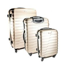 ALEKO ABS Luggage Travel Suitcase Set with Lock Horizontal Stripe Champagne