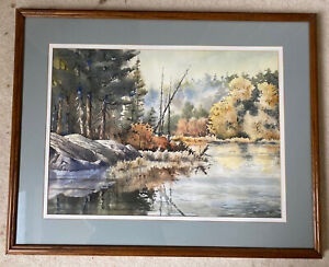 Original Art Watercolor Painting Signed Bob O'Donnell Water Landscape Double Mat