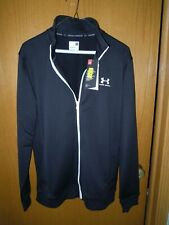 Under Armour Mens L Sportstyle Tricot Full Zip Track Running Sports Jacket BLACK