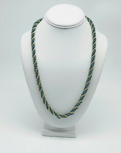 VINTAGE AVON ROPE TWIST TORSADE NECKLACE GOLD AND TURQUOISE