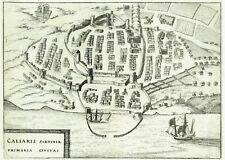CAGLIARI - Sardegna - J. HONDIUS 1627 Stampa Antica Originale Italia