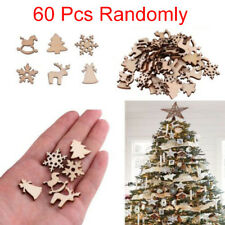 60Pcs DIY Craft Christmas Xmas Wood Chip Hanging Ornaments Decor Home
