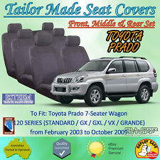 Tailor Made Seat Covers for Toyota Prado 120 Series (3 Rows): 02/2003 to 10/2009