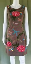 ALMATRICHI Brown Embroidered Sheath Dress 38 4 Stretch Cotton