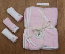 Burt's Bees Baby Girl 2 Ply Organic Hooded Towel & Washcloth Set ~ Pink & White