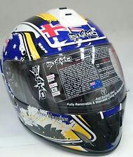 XL Patriot Australian Flag Motorbike Road Helmet Full Face Yamaha Blue
