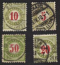 Switzerland 1894-97 Good Lot Of 4 Olive Green Postage Due Stamps Used