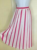 NWT NOS Vintage COS COB Fuchsia White Pleated Midi Skirt Size 12 USA