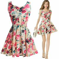 Women Summer Casual Sleeveless Party Evening Cocktail Floral Short Mini Dress