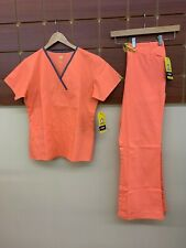 NEW Wink Orange Solid Scrubs Set With Small Top & Small Pants NWT