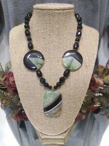 14/20 Gold Filled Black Onyx Green Black Druzy Agate Polished Stone Necklace