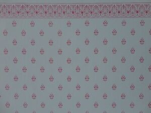 DOLLS HOUSE MINIATURE 1/12 SCALE WALLPAPER -  J HERMES - FLORENCE #825 - PINK