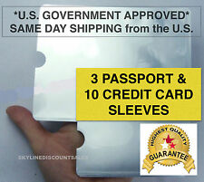 RFID 10x Card 3x Passport Credit ID Sleeve Holder Blocking Safety Shield Theft