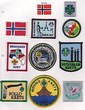 SCOUTS OF NORWAY - Rank Award, National Flag & Scout District Patch SET OF 10