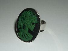 SKELETON Lady Anello Verde Gothic Rockabilly cameo scheletro 3d Steampunk Dark Green
