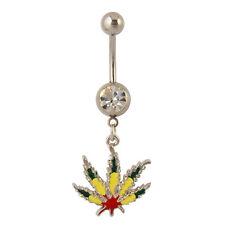 Rasta Pot Leaf Dangle Belly Ring Bar Marijuana Leaf Navel Ring 14 Gauge