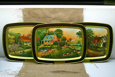 Set of 3 ~ CURRIER & IVES American Homestead AUTUMN SUMMER SPRING Seasons Trays