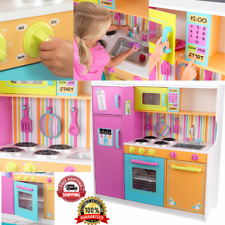 Kitchen Toy Play Set For Girls Children Kids Deluxe Big and Bright Pink Cooking