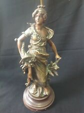 Antique Bronze Patina Cast Lamp Signed Moreau France Titled Lady Of Agriculture