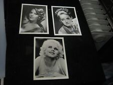 "3 Vintage Reproduction 5"" X 7""  B/W Photos Natalie Wood Jean Harlow Bette Davis"