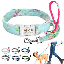 Floral Personalized Dog Collar and Leash with Heavy Duty Metal Engraved ID Tag