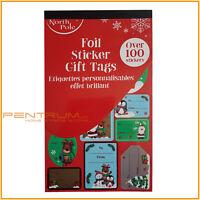 Over 100 Christmas STICKER Gift Tag Santa Snowman Reindeer Xmas Present Foil Tag