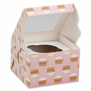 2 x CUPCAKE Boxes each holds 1 cake CLEAR lid Muffin box