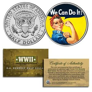 """ROSIE THE RIVETER Colorized JFK Half Dollar US Coin """" WE CAN DO IT """" Poster WWII"""