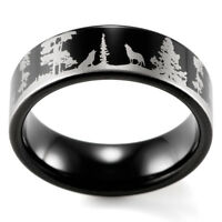 Animal Landscape Scene Wolf Wolves Ring Engraved Flat Black Tungsten Ring