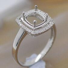 7x7mm Cushion Cut Solid 14kt White Gold Natural Diamond Semi Mount Wedding Ring