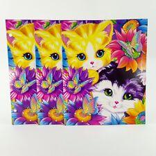 Lisa Frank Sunflower Kittens Glitter 2 Pocket 3 Ring Portfolio Folder Set of 3