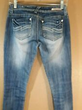 "Almost Famous Women's Jeans Size 3 Distressed Ripped Detail Blue Inseam 33"" 9588"