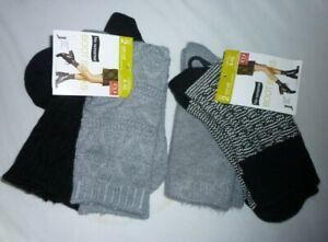 New Womens  sz 4-10 No nonsense Boot Socks 4 Pack   Gray Black Woven Texture