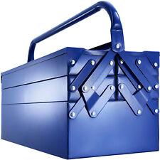 Caja de Herramientas Acero Cofre Compartimento Asas Bricolaje Taller Nuevo Azul