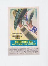 ORIGINAL WW II TIDEWATER OIL CO POSTER STAMP/MINI PIC #50 AMERICANS ALL