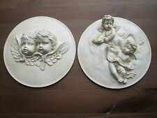 TWO SHABBY CHIC FRENCH COUNTRY DOUBLE  CHERUBS / /FURNITURE/ PLAQUE/MOULDING