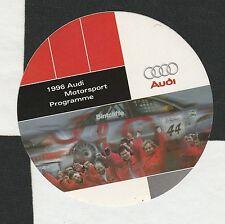 Programa de deportes de motor AUDI 1996 A4 Quattro BTCC Original período Pegatina De Carreras