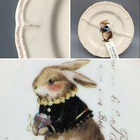 """x4 Magenta VINTAGE SPRING 6"""" Appetizer Dessert Plate Set Easter Rabbit Bunny NEW"""