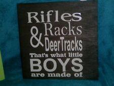 Rifles Racks & Deer Tracks Hunting Sign NurseryWooden Camp Decor 12x12 WOOD
