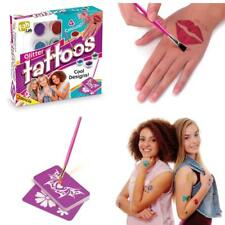 Glitter Tatoo Kit Kids Girls Body Art Stencil Temporary Sparkly Party Night Xmas