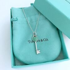 "TIFFANY & Co. Sterling Silver Blue Enamel Heart Key Pendant Necklace 16""/packing"
