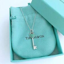 """TIFFANY & Co. Sterling Silver Blue Enamel Heart Key Pendant Necklace 18"""""""