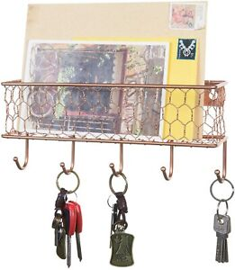 MyGift Copper Metal Wall Mail Sorter with Chicken Wire Mesh Basket and 5 Hooks
