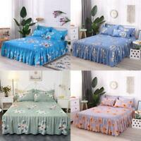 Queen Size Skin-Friendly Bedspread Bedding Set 3Pcs Set Bed Skirt Pillowcases US