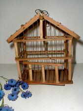 Rustic Garden Sunroom Decor Wooden & Wire Bird Cage House w Heart Metal Hanger